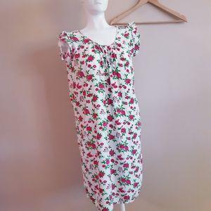 None | pink rose flounce sleeve shift dress.